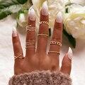Tocona Neue Mode Einfache Geometrische Gold Silber Farbe Joint Ring Set für Frauen Kristall Charme Ring Set Partei Schmuck Geschenk 9927