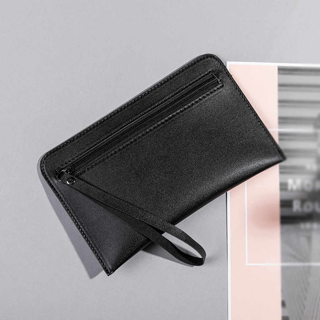 Maioumy carteiras de embreagem couro zipeer sólido lazer moda feminina cor sólida longa carteira casual bolsa de embreagem multi-card