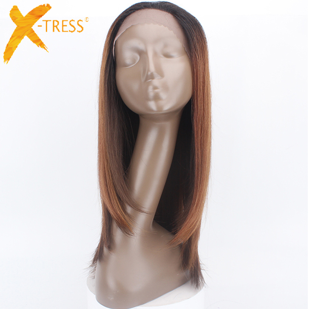 Ombre Brown Synthetic Lace Front Wigs Free Part High Temperature Fiber Hair X-TRESS Long Straight Swiss Lace Wig For Black Women