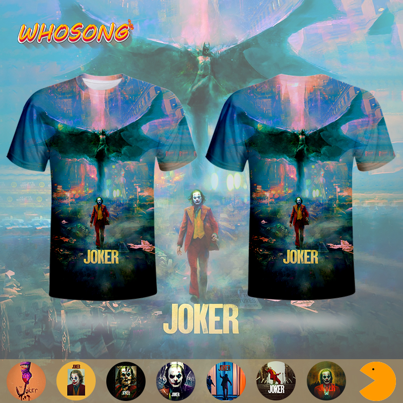 2019 DC Joker American superhero WHOSONG 3D popular thriller movie Tshirt Man short sleeve funny jacket gothic style image