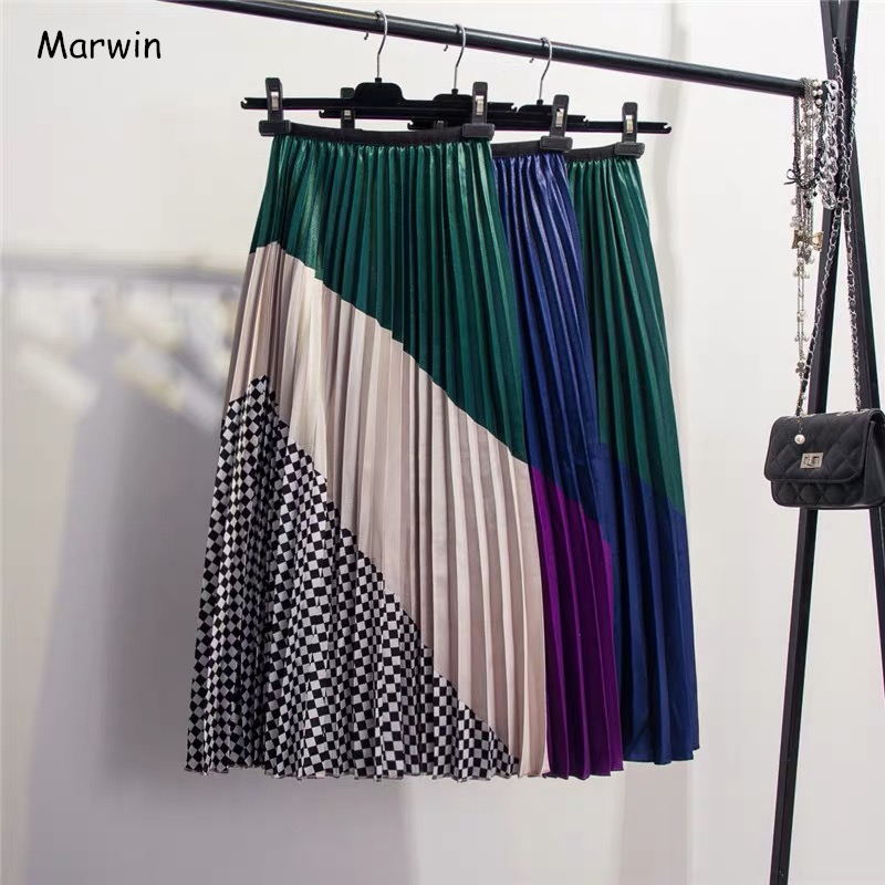 Marwin 2019 Spring New-Coming Europen Color Matching Plaid  Pleated Skirt High Street Style Mid-Calf Empire Striped Women Skirts