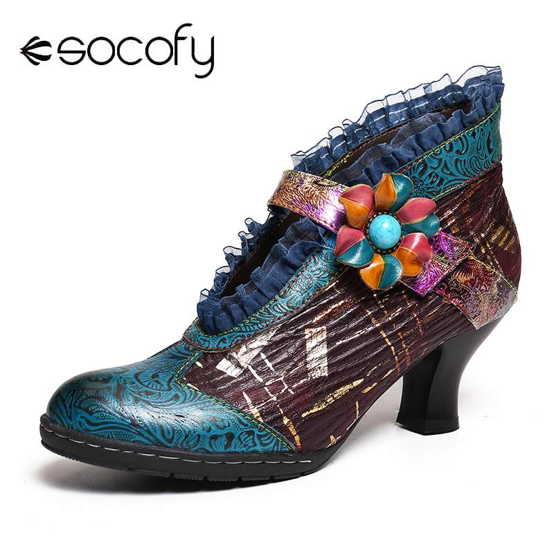 SOCOFY Botas Mujer Boots Lace Genuine Leather Splicing Floral Low Heel Elegant Pumps Ladies Shoes Women Spring 2020
