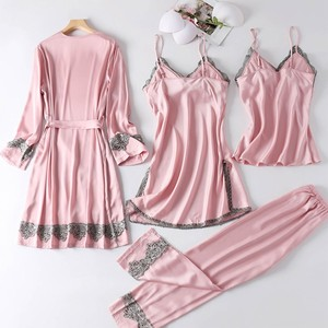 Image 4 - 4PCS סאטן הלבשת ליידי פיג מה חליפת נייטי & Robe סט סקסי אינטימי הלבשה תחתונה מזדמן כלה חתונה מתנה Homewear כתונת לילה