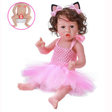 20Inch Bebe Doll Reborn Soft Full Body Silicone Girl Doll Toddler Girl Pink Princess Bath Toy Birthday Christmas Present(China)