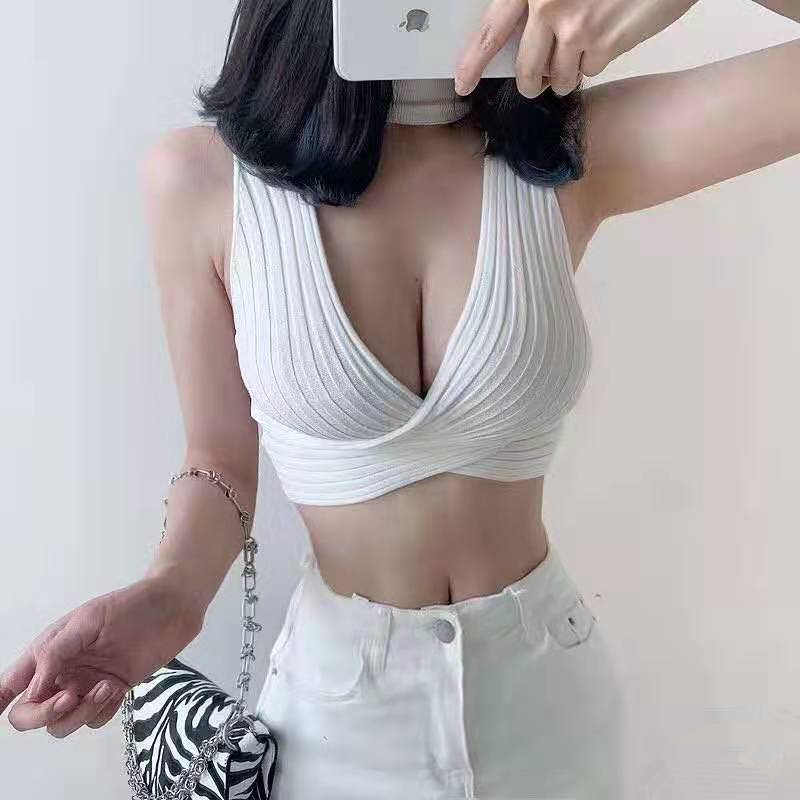 HELIAR Women Halter Sexy Knitting Crop Tops Strapless Tops Cottons Camisole Female Camis With Hole Women 2020 Summer Tank Tops