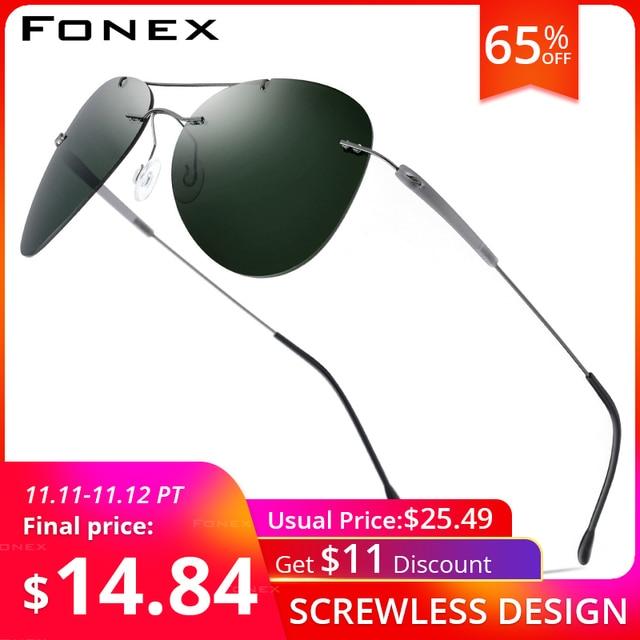 FONEX Titanium Alloy TR90 Rimless Sunglasses Men Ultralight Screwless Women Pilot Aviation Polarized Sun Glasses for Men 851