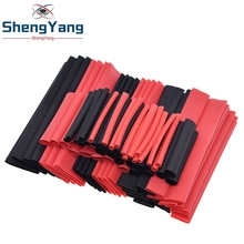 ShengYang 1set=150PCS 7.28m Black And Red 2:1 Assortment Heat Shrink Tubing Tube Car Cable Sleeving Wrap Wire Kit