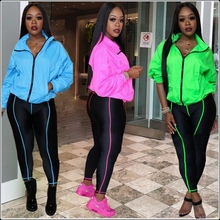 Spring Autumn Women Sports 2 Two Piece Sets Tracksuits Zip Up Long Sleeve Tops Skinny Pencil Pants Leggings Sweat Suits Outfits цена