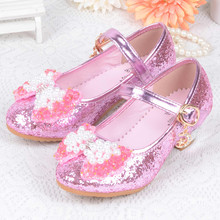 Spring Autumn Girls High Heel Princess Shoes Dance Sandals Kids Shoes Glitter Leather Fashion Girls Party Dressing Wedding Shoes