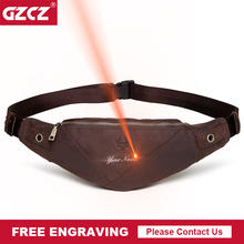 GZCZ Fanny Pack Genuine Leather Man Waist Bag Fashion Chest Pack Male Crossbody Chest Travel For Mobile Phone Holder Pouch Purse(China)