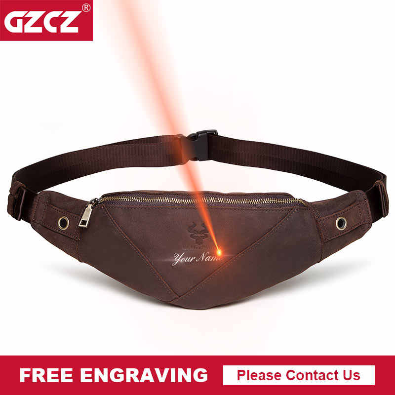 GZCZ Fanny Pack Genuine Leather Man Waist Bag Fashion Chest Pack Male Crossbody Chest Travel For Mobile Phone Holder Pouch Purse
