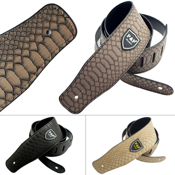 Adjustable PU Leather Guitar Strap with Python Skin Pattern for Acoustic / Folk / Electric Guitar Bass 3 Colors Optional фото