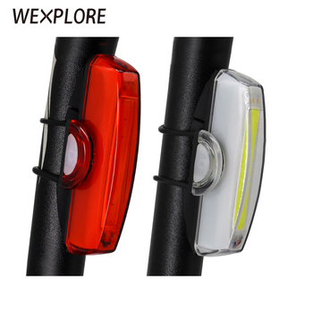 Bike Rear Light USB Rechargeable Bicycle COB Lamp Led Tail Front Cycling Safety Lights Set