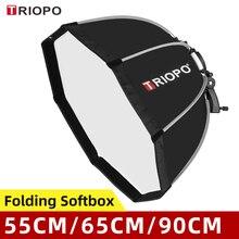 TRIOPO 55cm 65cm 90cm 120cm Foldable Octagon Softbox Bracket Mount Soft box Handle for Godox Yongnuo Speedlite Flash Light