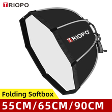 TRIOPO 55cm 65cm 90cm 120cm składany uchwyt Octagon Softbox uchwyt miękkie pudełko uchwyt do Godox Yongnuo Speedlite latarka