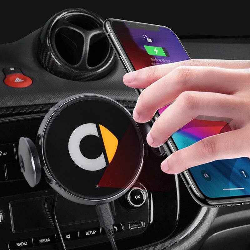 Carro de carregamento sem fio suporte do telefone móvel para smart 453 451 450 fortwo forfour suporta navegação carregamento para iphone samsung