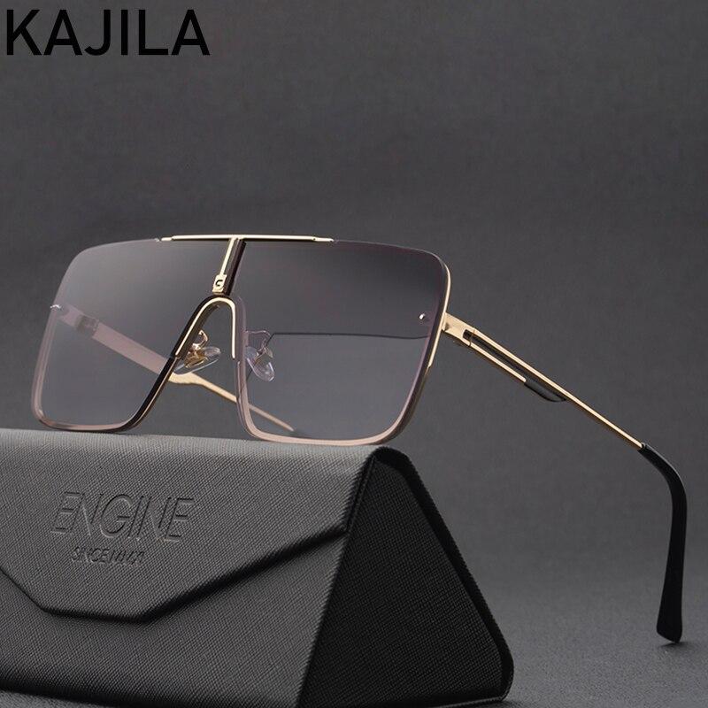 Oversized óculos de sol dos homens 2020 designer marca de luxo uma peça mental quadro quadrado óculos de sol para o homem do vintage lentes de sol