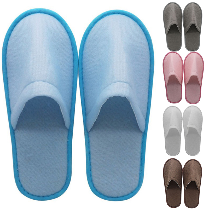 1 Pairs Hotel Travel Spa Disposable Slippers Party Sanitary Home Guest Use Fluffy Closed Toe Men Women Disposable Slippers