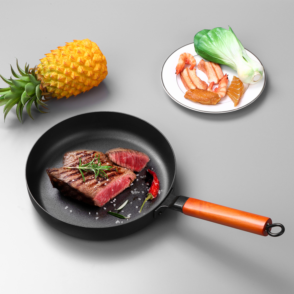 Fry Pan Nonstick Pan With Wooden Handle Iron Frying Pan