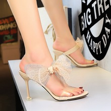 2020 Summer Korean-Style Elegant Womens Slippers Thin Heeled High Heel Open Toe A- line Lace Bow