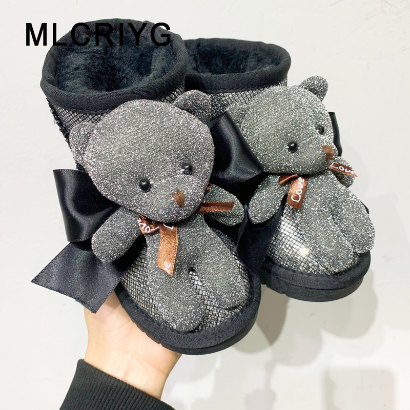 Winter New Kids Snow Boots Baby Girls Warm Shoes Children Ankle Boots Bear Black Brand Boots Toddler Soft Genuine Leather Shoes