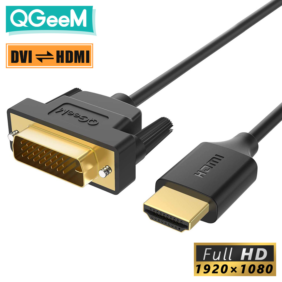 QGeeM Кабель HDMI-DVI HDMI DVI Двунаправленный адаптер для Xiaomi Xbox Serries X PS5 PS4 TV Box Chromebook Ноутбуки Планшеты Ноутбук Цифровой провод 1080P между мужчинами DVI ...