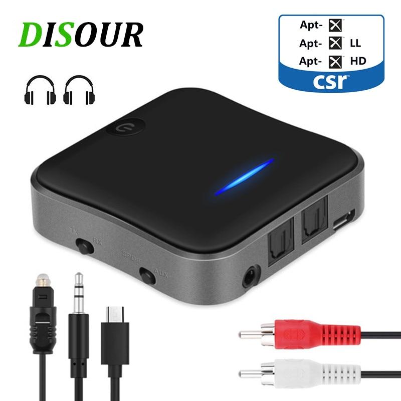 Transmissor de Áudio Adaptador sem Fio Aptx Baixa Latência Bluetooth 5.0 Receptor Música Csr8675 tv pc Rca – Spdif 3.5mm Aux Jack B19 hd