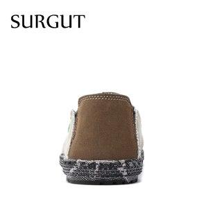 Image 2 - SURGUT Brand New Fashion All Season Men Driving Shoes Loafers Espadrilles Shoes Breathable Men Casual Flats Canvas Size 39~47