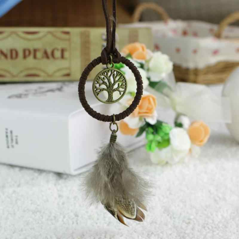 Classical Handmade Dreamcatcher Feathers Car Wall Gift Keychain Dream Catcher Key Rings Trinket Pendant Accessories