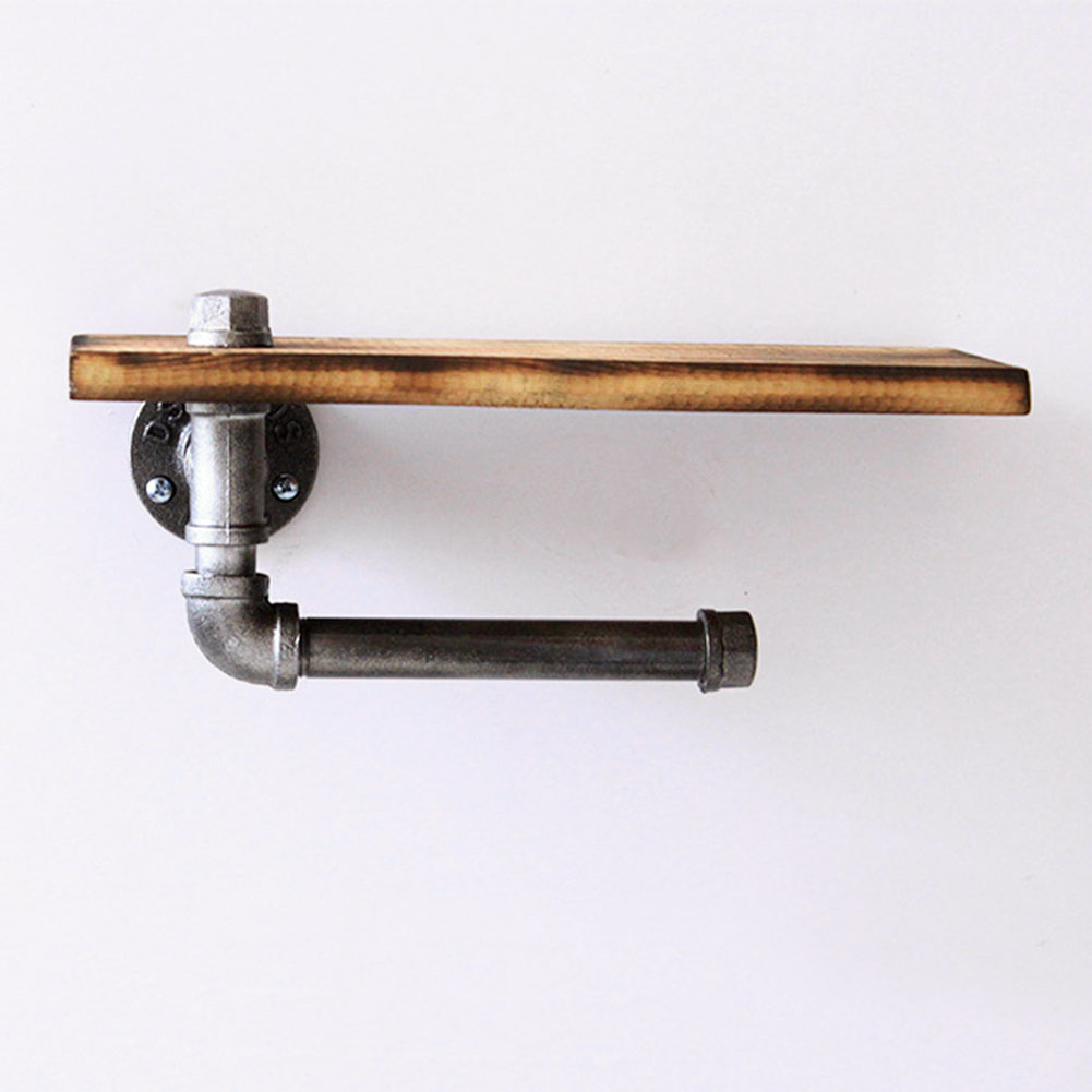 Washroom Home Cast Iron Pipe Wooden Shelf Industrial Easy Install With Screw Paper Holder Rustic Bathroom Toilet Heavy Duty