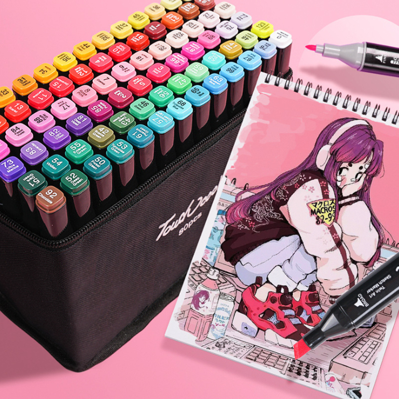 TouchMarkers Pen Set 40/60/80/168 Color Animation Sketch Drawing Marker Art Pens Alcohol Based With Manga Design Art Gifts