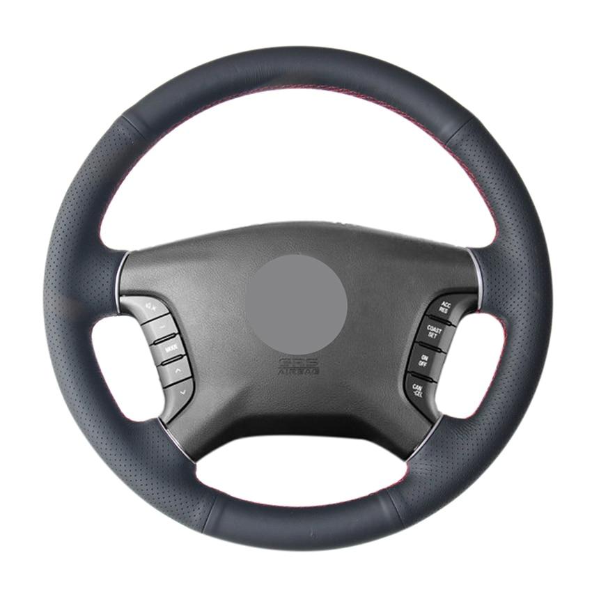 Hand Sew Black Genuine Leather Car Steering Wheel Cover for Mitsubishi Pajero 2007-2014 Galant 2008 2009 2010 2011 2012