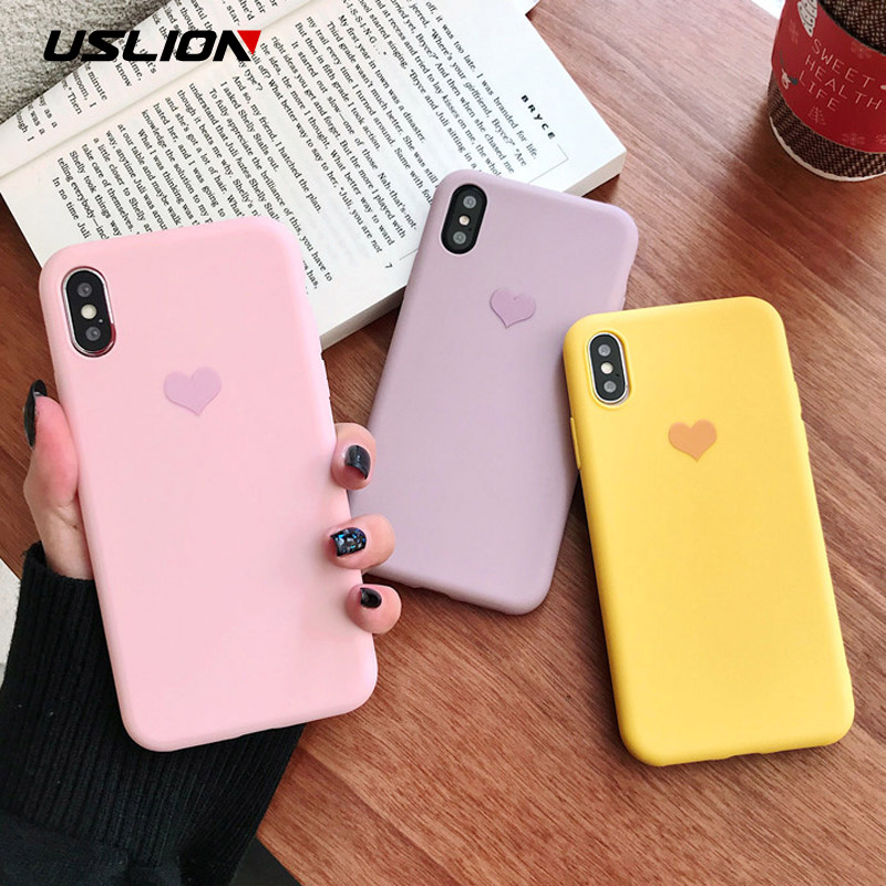 USLION Candy Color Case For IPhone 11 Pro XR XS X Xs Max Love Heart Phone Cover For IPhone 6 6S 7 8 Plus 11 Pro Max Soft TPU Silicone Cases