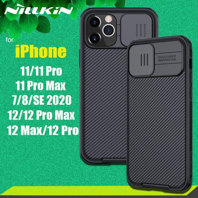 Nillkin caso de proteção da câmera para o iphone 12 pro max 11 11 pro max 8 7 se 2020 caso slide lens proteger casos capa de privacidade