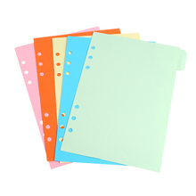 5Pcs Refills 6 Hole Blank Colorful Paper for A5 A6 Loose Leaf Binder Notebook L93A