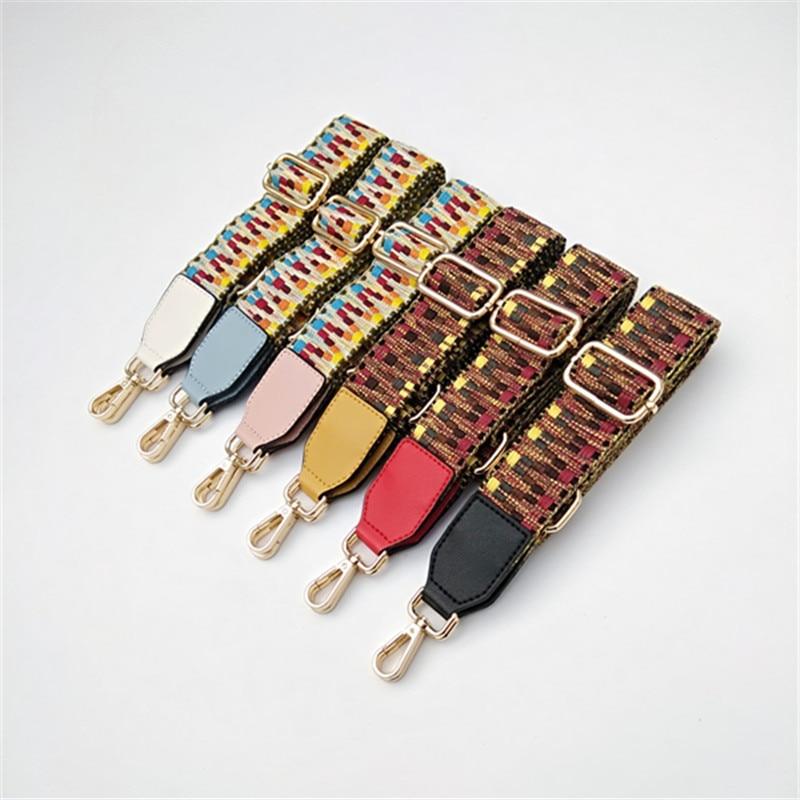 High Quality Woven Narrow Shoulder Strap Adjustable Ladies Bag Accessories Strap Fashion Colorful Long Strap O Bag Handles
