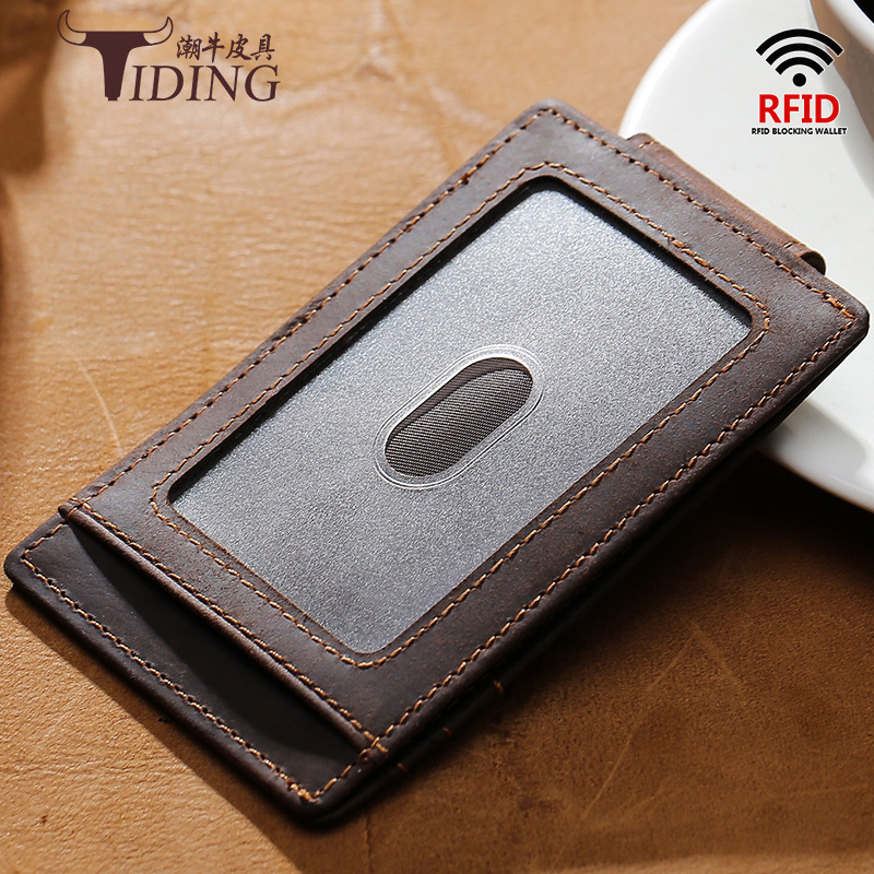 Tiding Men Wallet Multi-functional Genuine Leather Ultra-Thin Covered Edge Purse Bank Card Driving License Card Holder Card Clam