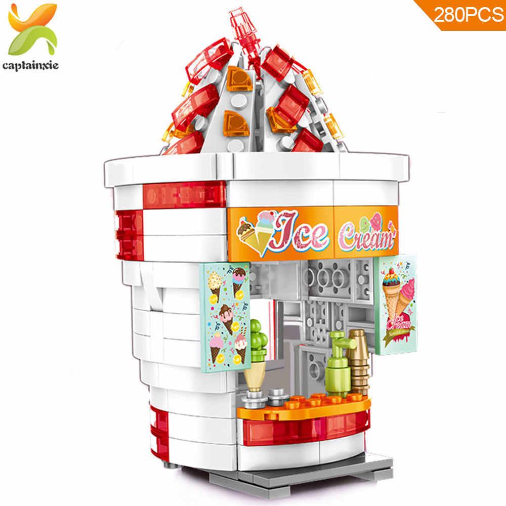 همبرغر الآيس كريم المقلية متجر اللبنات Legoingly مدينة العمارة البناء الشارع الرؤية الطوب لعب للأطفال