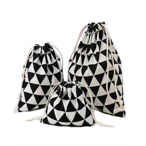 New printed cotton and linen travel bundle pockets environmentally friendly use luggage drawstring clothes Christmas gift bags