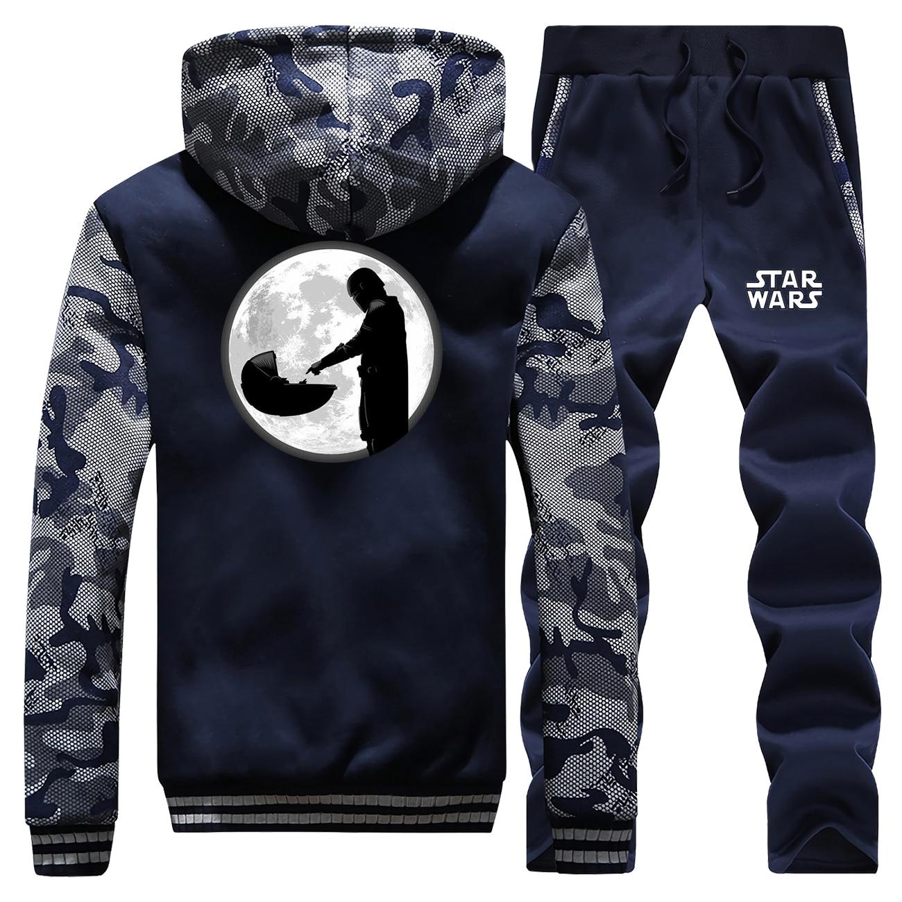 Baby Yoida Winter Camo 2Pcs Jacket Mandalorian Men Fleece Thick Warm Mens Jackets Coats Star Wars Hoodies Pants Sets Sportswear