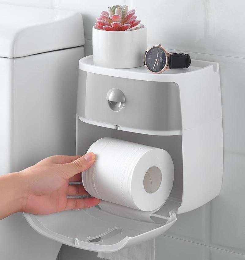 Waterproof Wall Mount Toilet Paper Holder Towel For Bathroom Portable Tissue Paper Box Rack Bathroom Toilet Tissue Tube