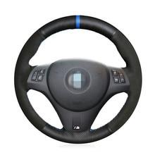 Черный замшевый кожаный чехол рулевого колеса автомобиля для BMW M Sport M3 E90 E91 E92 E93 E87 E81 E82 E88