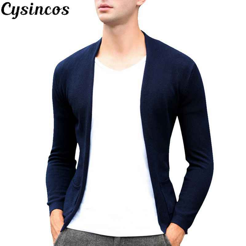 CYSINCOS2019 Spring Men Fashion Cardigan Soild  Sweater Colored Cartoon Printed V-Neck Knitwear Male Casual Sweaters Plus Size