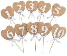 10 pieces Burlap Hearts Flags Wedding Table Numbers Props Rustic Table Decoration Wedding Decoration Party Supplies 5BB5794