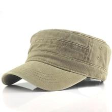 古典的なヴィンテージフラットトップメンズ洗浄キャップ帽子調整可能なフィット厚いキャップミリタリー帽子男性キャスケット gorra hombre