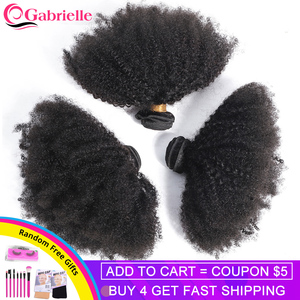 Gabrielle Mongolian Afro Kinky Curly Hair Bundles 8-20inch 100% Human Hair Weave Bundles 3/4 pcs Remy Hair Extensions(China)