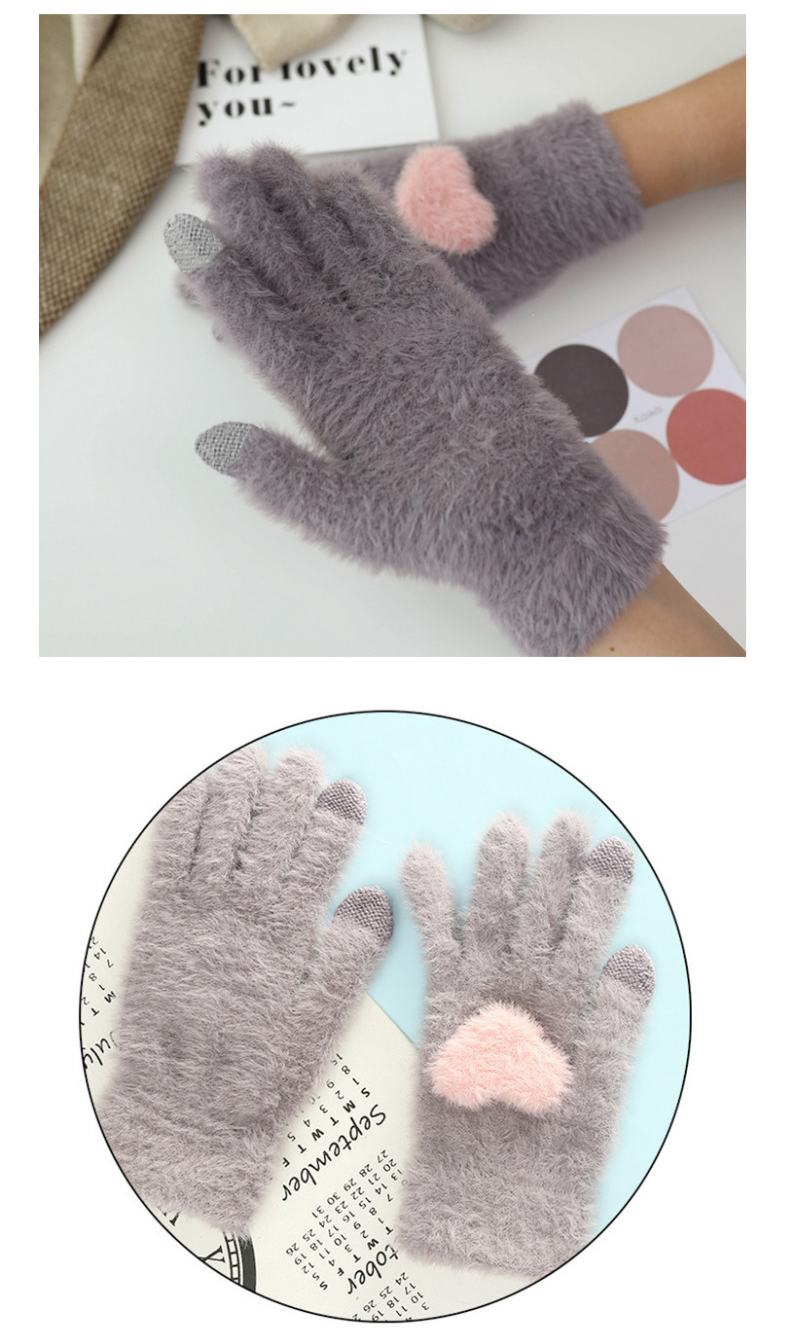 Fashionable and Knitted Touch Screen Gloves for Women Made of Soft Rabbit Wool with Pink Heart Design 13