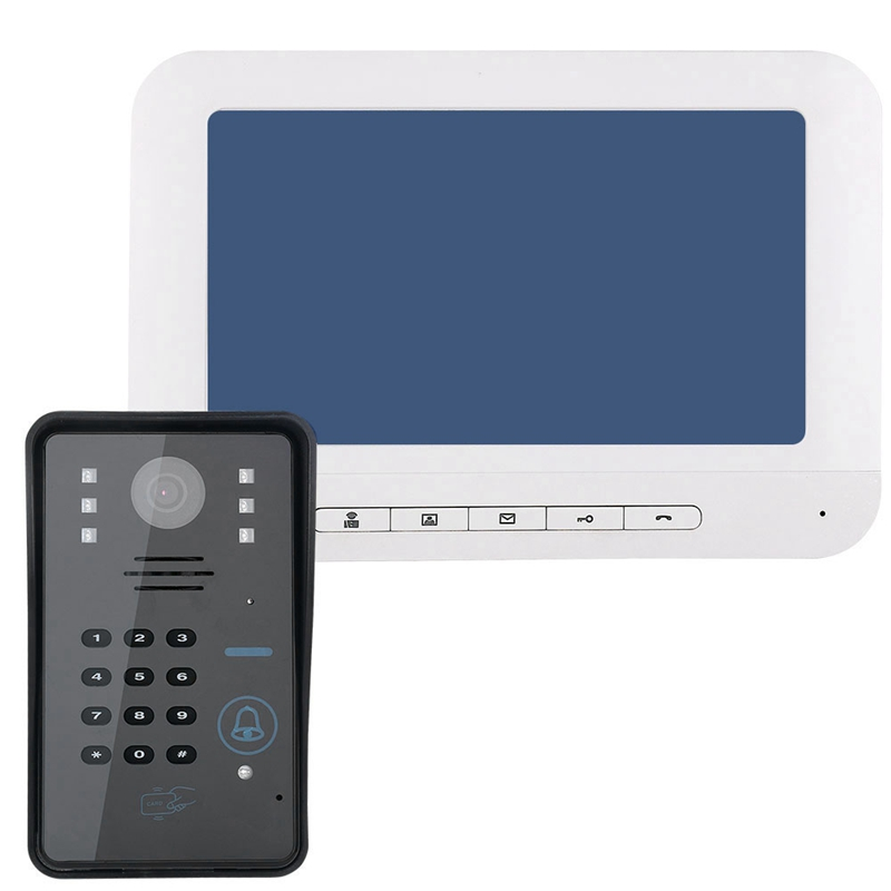 ABKT-Mountainone 7 Inch Password Access Control Card Night Visual Intercom Doorbell Rain Infrared Intercom System White +Black A