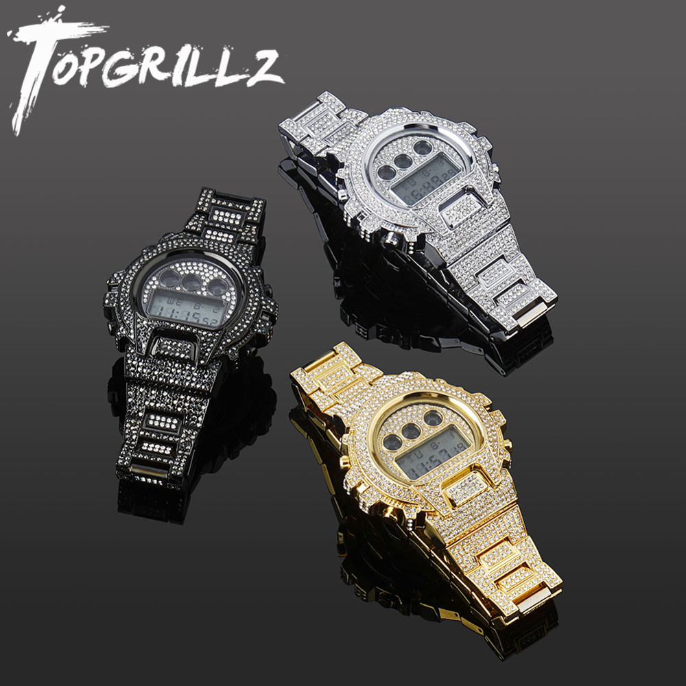 TOPGRILLZ New Fashion Stainless Steel Digital Movt Watch Iced Out Lab Diamond Watch Hip Hop Jewelry Gift