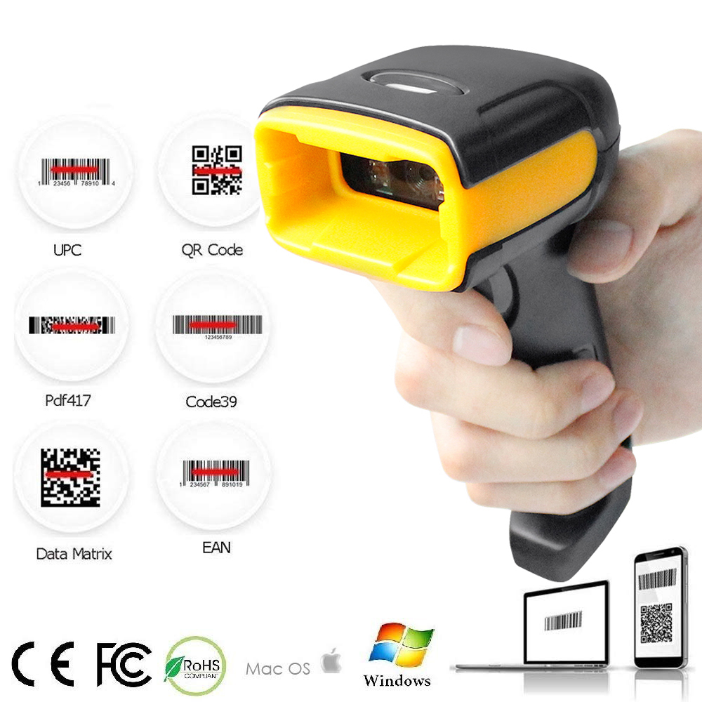 Wireless 2D Barcode Scanner QR Code Reader Handheld Wireless Wired Scanner for POS Terminal and Inventory image